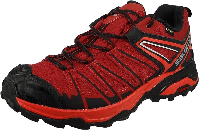 Salomon X Ultra 3 Prime GTX, Zapatillas de Senderismo para Hombre, Rojo (Red Dalhia/Fiery Red/Vapor Blue 000), 42 2/3 EU: Amazon.es: Zapatos y complementos