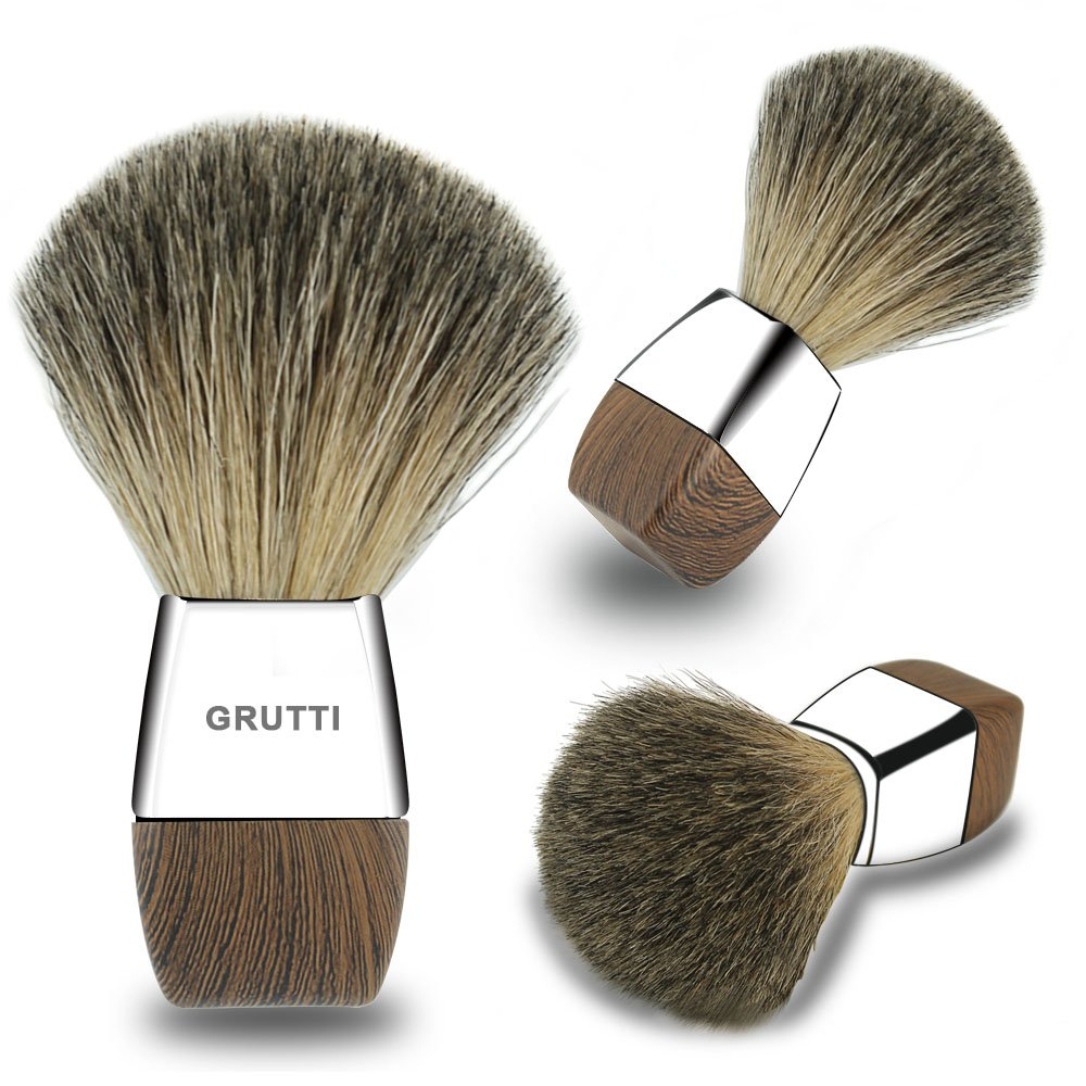 GRUTTI 100% Pure Badger Shaving Brush-Silver Handle- Engineered for the Best Shave of Your Life