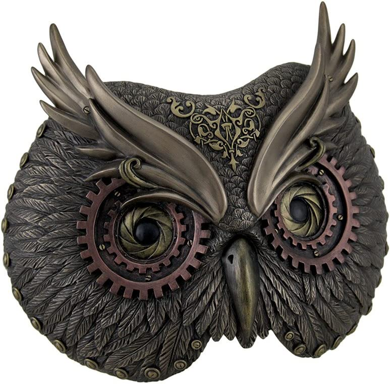 Resin Decorative Plaques Metallic Bronze Steampunk Owl Head Wall Mask 8.5 X 6.75 X 3.5 Inches Bronze