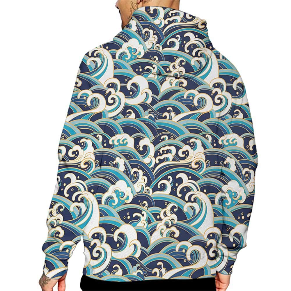 Hoodies Sweatshirt/Men 3D Print Nautical,Traditional Oriental Style Ocean Waves Pattern with Foam and Splashes Print,Blue and White Sweatshirts for Men Prime