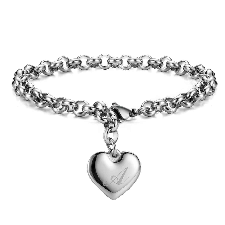 a70e936d1 Amazon.com: Monily Initial Charm Bracelets Stainless Steel Heart Letters A  Alphabet Bracelet for Women: Jewelry