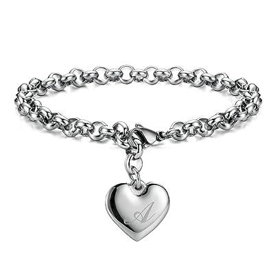 7f87e67bad8 Monily Initial Charm Bracelets Stainless Steel Heart Letters A Alphabet  Bracelet for Women