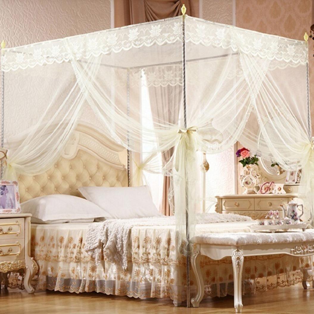 Bluelans 4 Corner Post Bed Canopy Mosquito Net, Netting Bedding, Twin/Full/Queen/King, Beige