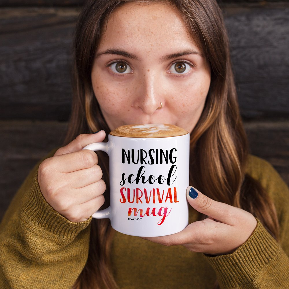 MyCozyCups Nursing Student Gifts - Nursing School Survival Mug - Funny Registered Nurse Assistant, Practitioner, RN, 11oz Coffee Cup For Women, Best Friend, Daughter, Mom, Wife - Graduation Present by MyCozyCups (Image #2)
