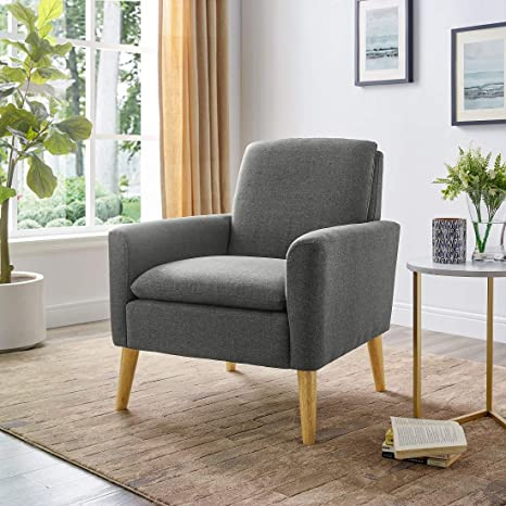 Lohoms Modern Accent Fabric Chair Single Sofa Comfy Upholstered Arm Chair  Living Room Furniture (Bluish Gray)