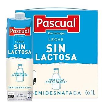 Pascual Leche Sin Lactosa Semidesnatada - Paquete de 6 x 1000 ml - Total: 6000