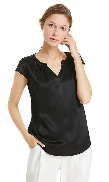 17c93ff6d9 LilySilk 22MM Pure Silk Casual V Neck Silk T Shirt Women Short Sleeves  Set-XS
