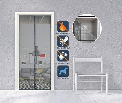 Liveinu Mosquitera Puertas Fibra De Vidrio Incombustible Mosquitera Magnética Automático para Puertas Cortina de Sala de Estar la Puerta del Balcón Puerta Corredera de Patio Gris 75x210cm: Amazon.es: Bricolaje y herramientas