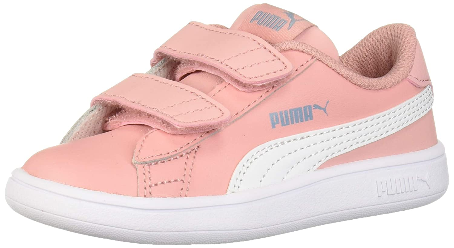 Details about Puma Smash V2 (Toddler Girl's Size 5) Strap On Leather Sneakers White