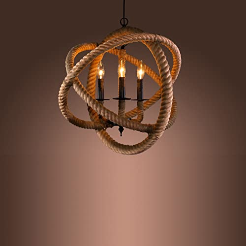 HomeRoots Tan, Black Hemp Rope Natalia 3-Light Rope Enclosed Chandelier with Bulbs