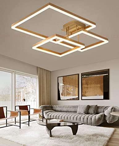 Wohnzimmerlampe LED Deckenleuchte/Deckenlampe Dimmbar Eckig ...