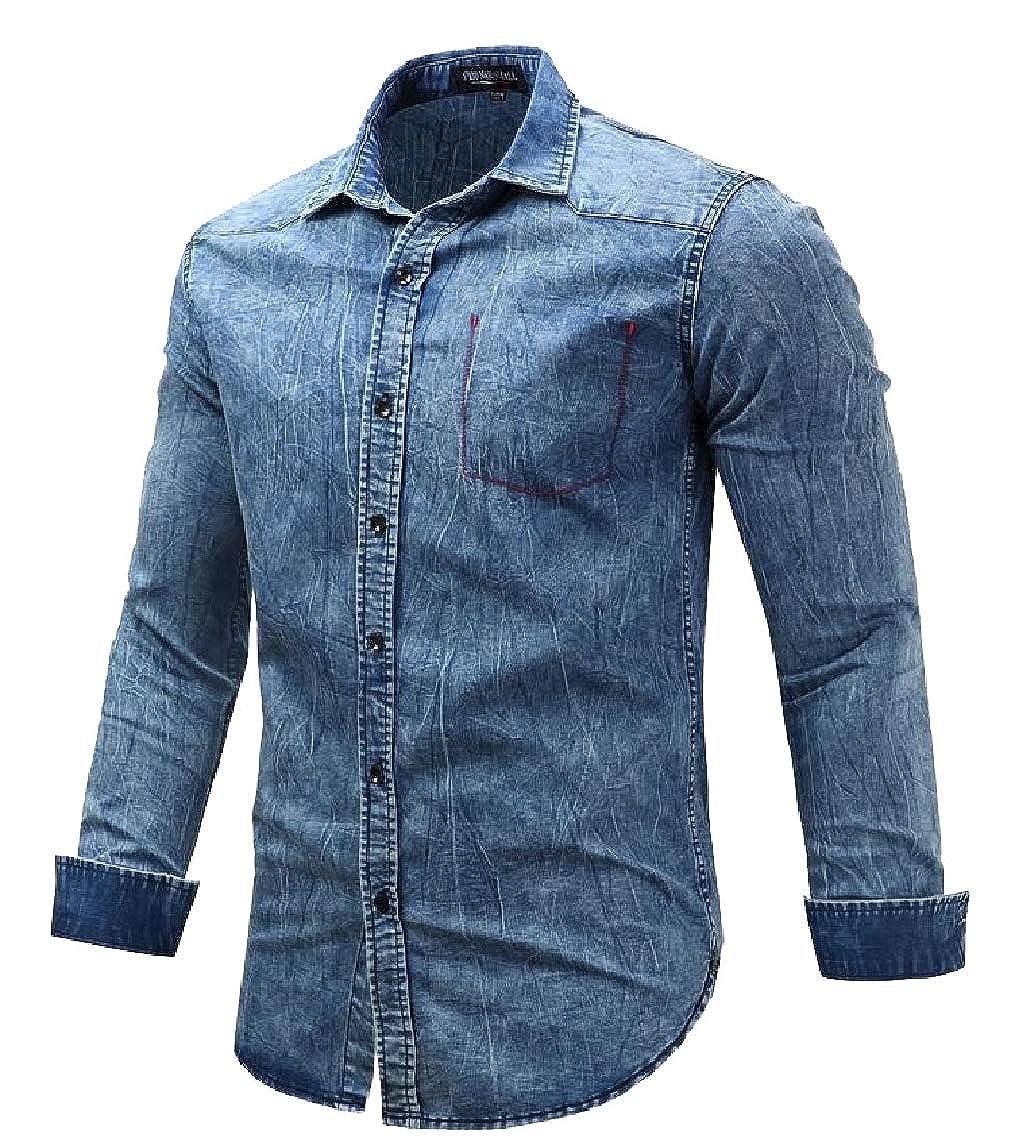 mydeshop Mens Casual Long Sleeve Denim Button Up Top Jeans Shirts