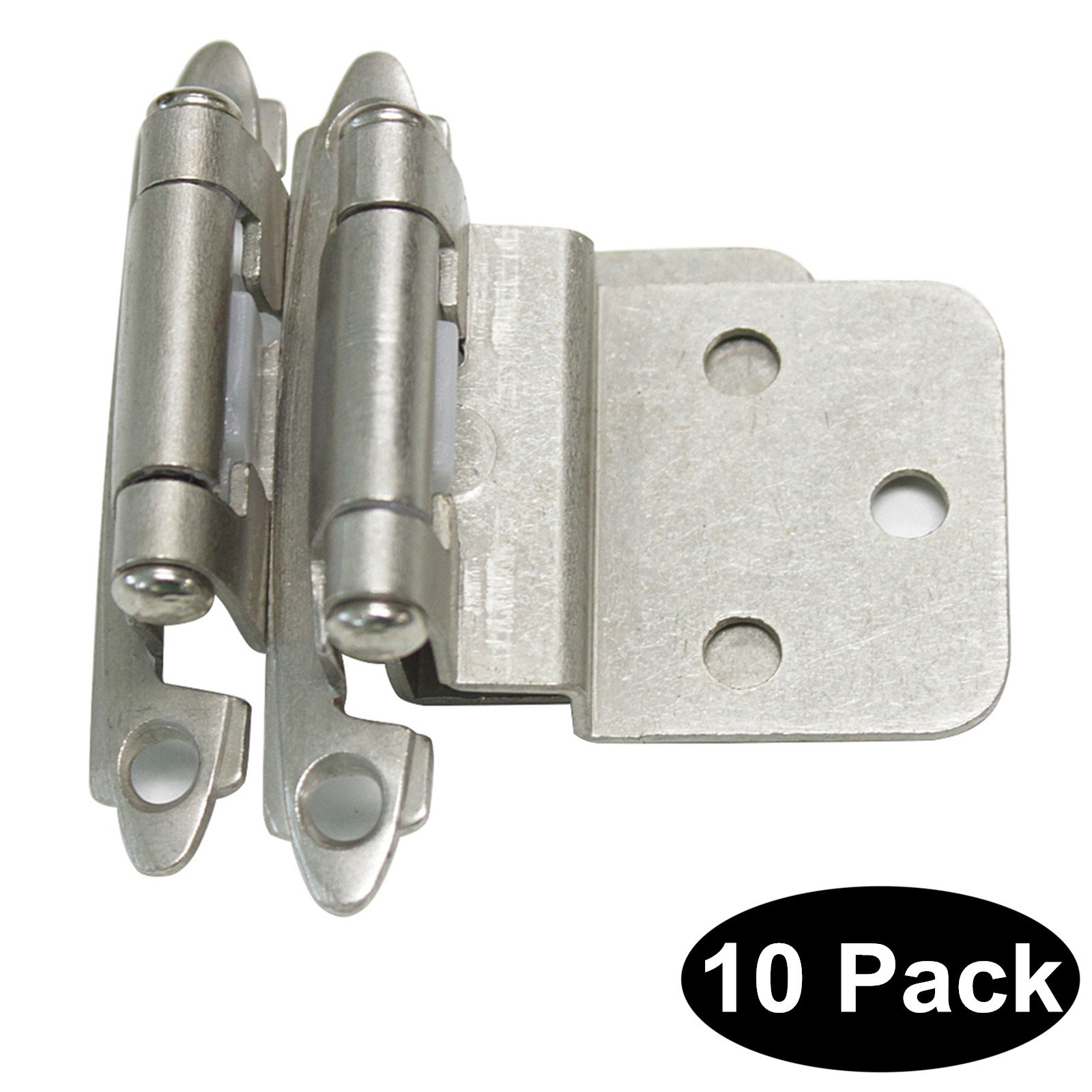 10 PCS Probrico HMCH198-SN Decorative Self Closing Face Mount Kitchen Cabinet Hinges Step 3/8''in Overlay Brushed Satin Nickel