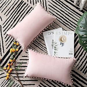DEZENE 12x20 Throw Pillow Covers Pink: 2 Pack Cozy Soft Pom-poms Velvet Rectangular Decorative Pillow Cases for Farmhouse Home Decor