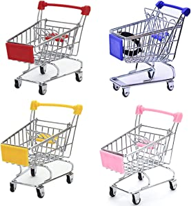 STEAM Mini Supermarket Handcart,4 Pack Supermarket Handcart Shopping Utility Cart Mode Storage Toy (Pink,Yellow,Red,Blue)