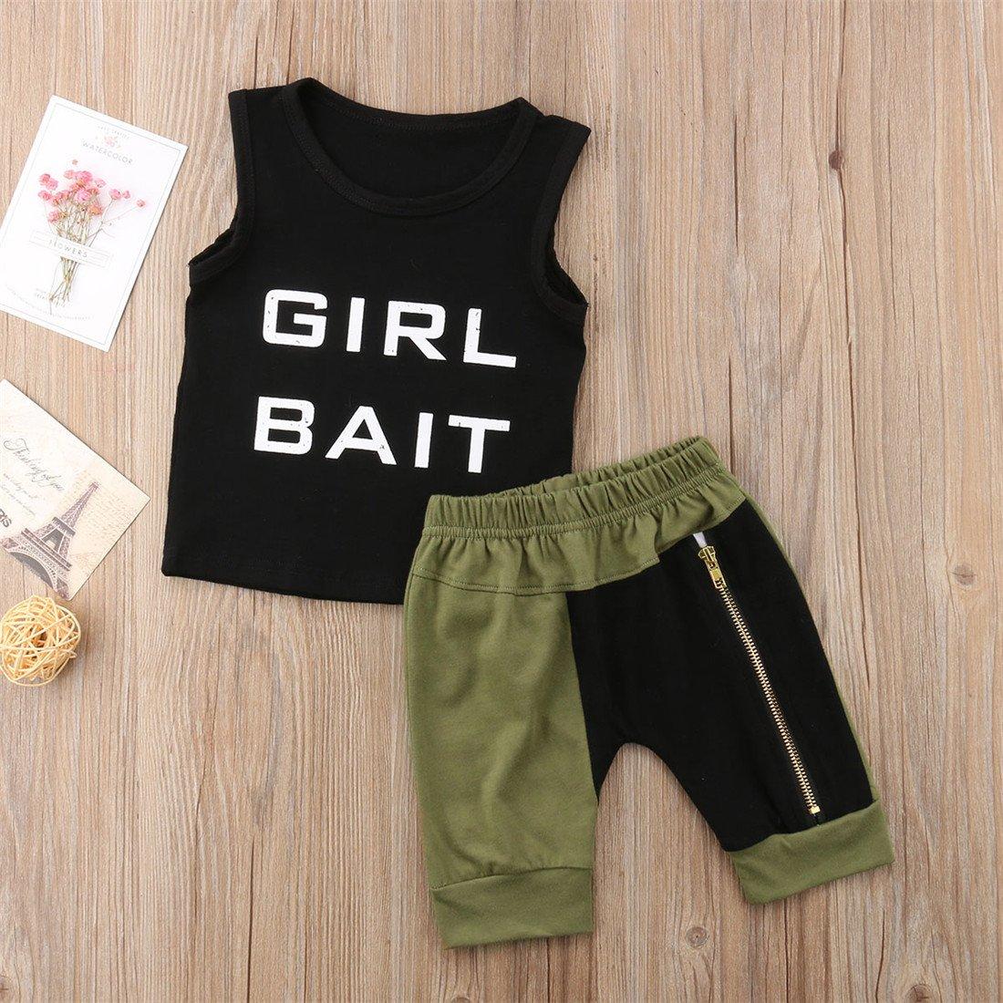 Toddler Baby Boy Kids Sleeveless Vest T-Shirt Top Pants 2Pcs Outfit Clothes Set
