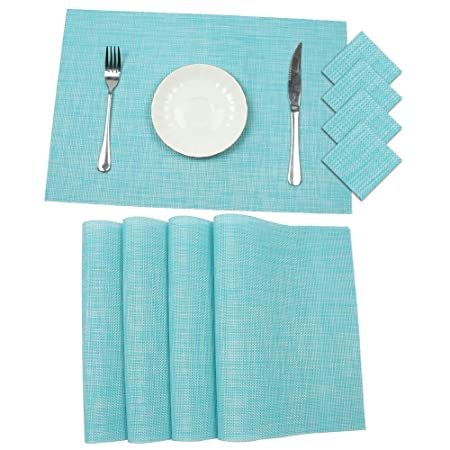 Placemats and Coaster Sets of 6 Pauwer Woven Vinyl Placemat Non Slip Place Mats Heat  sc 1 st  Amazon UK & Placemats and Coaster Sets of 6 Pauwer Woven Vinyl Placemat Non ...