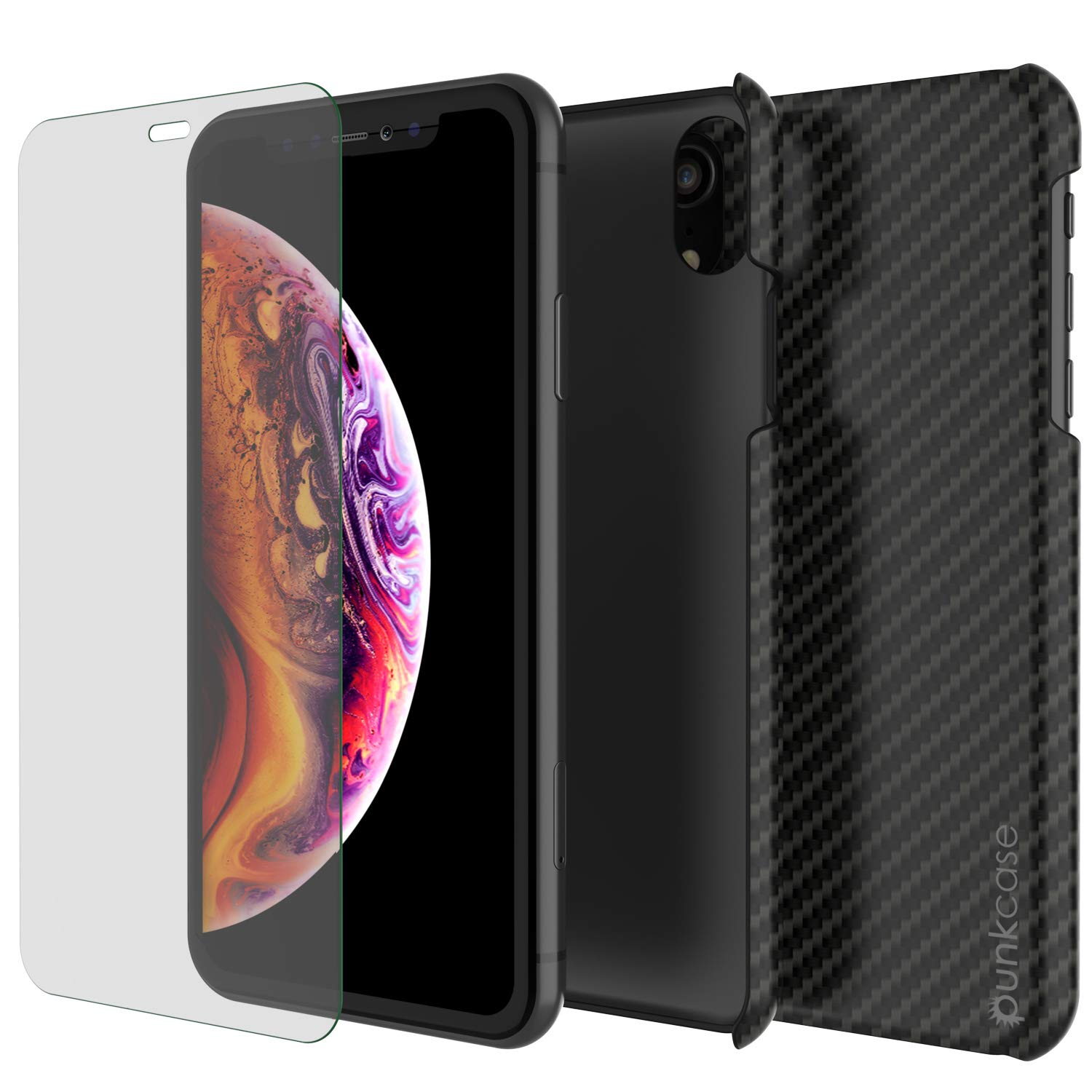 iPhone XR Case, Punkcase CarbonShield, Heavy Duty & Ultra Thin 2 Piece Dual Layer PU Leather Cover [Shockproof][Non Slip] with PUNKSHIELD Screen Protector for Apple iPhone XR [Jet Black]
