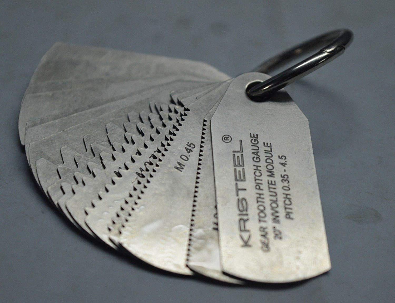 Gear Tooth Profile Gauge .35 to 4.5 Module 23 Profiles 15 Leafs 20 PA - Modular