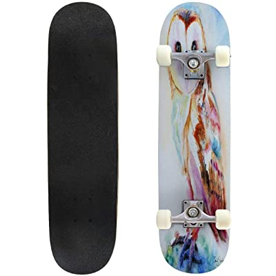 Classic Concave Skateboard Barn Owl Longboard Maple Deck Extreme Sports and Outdoors Double Kick Trick for Beginners and Professionals : Sports & Outdoors [5Bkhe0204288]