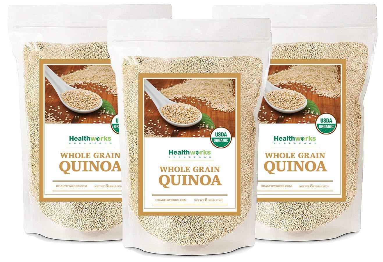 Healthworks Quinoa, Peruvian White Whole Grain Raw Organic, 15lb (3 5lb Packs)