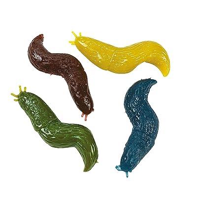 Fun Express Sticky Stretch Slug Toys (Set of 12) Gross Rubber Worm Novelty Toys: Toys & Games