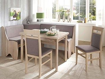 Expendio Eckbankgruppe Runa 1 Eiche Sonoma Grau Braun 2x Stuhl Tisch