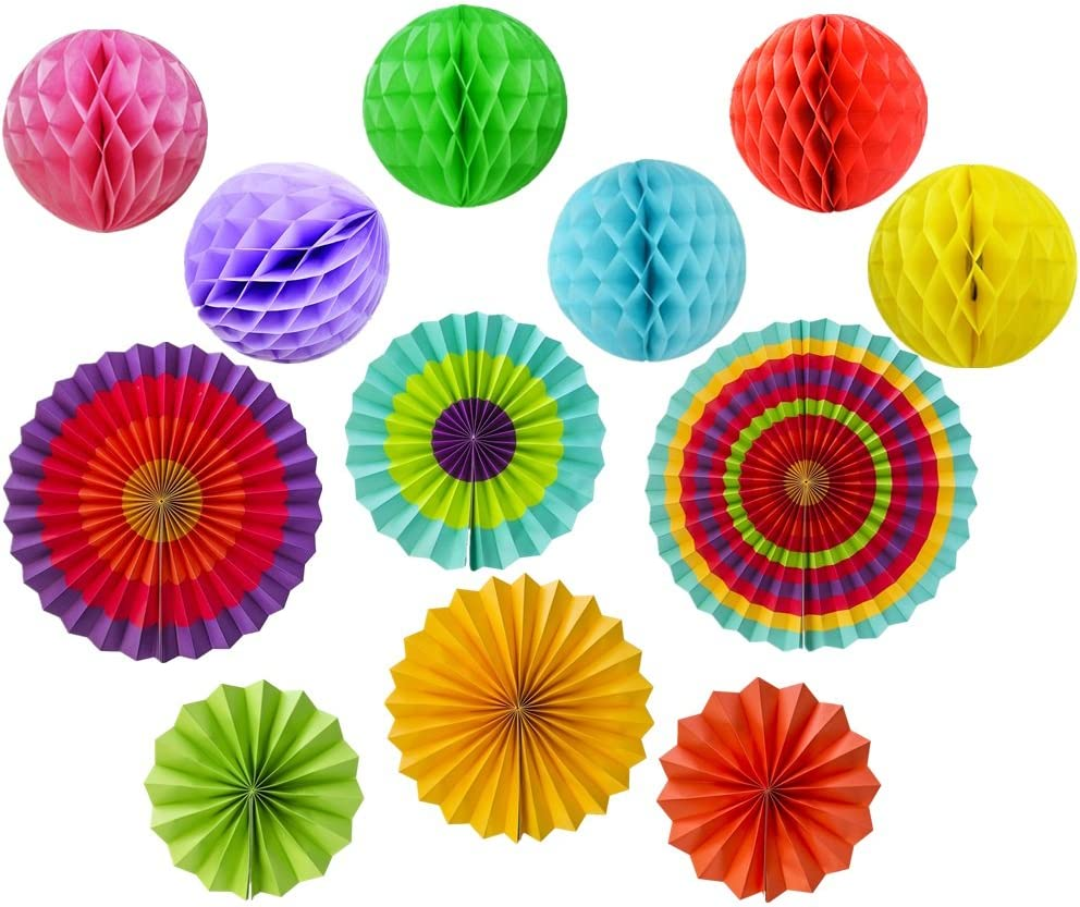 mexican Fiesta themed rainbow party decorations for kids, Party Decoration supplies with Colorful Honeycomb Pom, Circle Paper Fans,Photo Props,taco party,Wedding,Birthday,candyland decorations