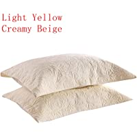 MarCielo 2-Piece Embroidered Pillow Shams, Queen Decorative Microfiber Pillow Shams Set Standard Size