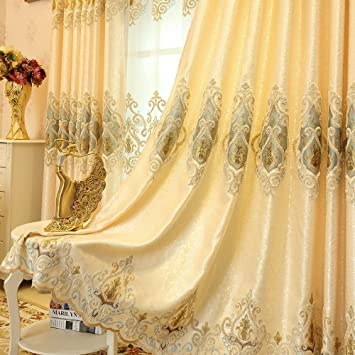 Amazon Com European Style Living Room Gold Curtains Room Darkening Luxury Curtains Cloth Curtains 2 Panels 54 Inches By 96 Inches Kitchen Dining