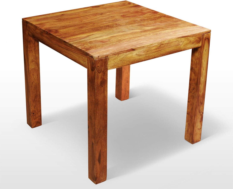 80 x 80 cm aus besonders sch/ön gezeichnetem Sheesham-Holz in modernem zeitlosen Design AISER Royal Massiver Echt-Holz Palisander Esstisch Avignon