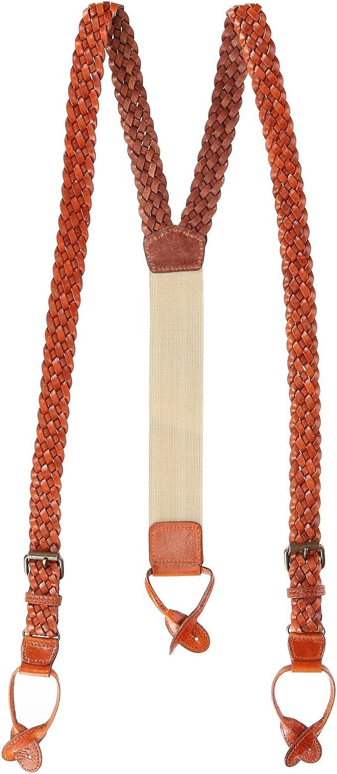 Men's Vintage Style Suspenders Braces The British Belt Co. Turner Leather Trim Braces Nickel Clips Adjustable Sizing £45.00 AT vintagedancer.com