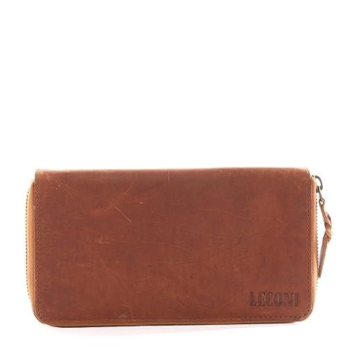 f9ce3f20abfe56 LECONI große Geldbörse Portemonnaie vintage Damen Brieftasche Kartentasche  lang querformat Leder 20x11x2cm braun LE9006-wax