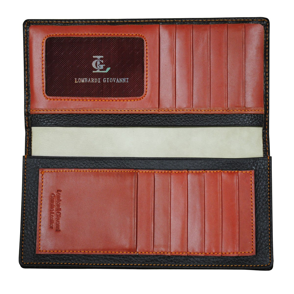 37bae061011d Lombardi Giovanni Men's Leather Long Wallet 12 Slots 1 Window ID And ...