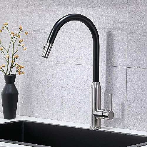 Modern Commercial Single Lever Pull Out Sprayer Brushed Nickel and Matte Black Finish Stainless Steel Kitchen Faucet, Kitchen Sink Faucet