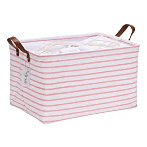 Hinwo 31L Large Capacity Storage Basket Canvas Fabric Storage Bin Collapsible Storage Box with PU Leather Handles and Drawstring Closure, 16.5 by 11.8 inches, Waterproof Inner Layer, Pink Stripe