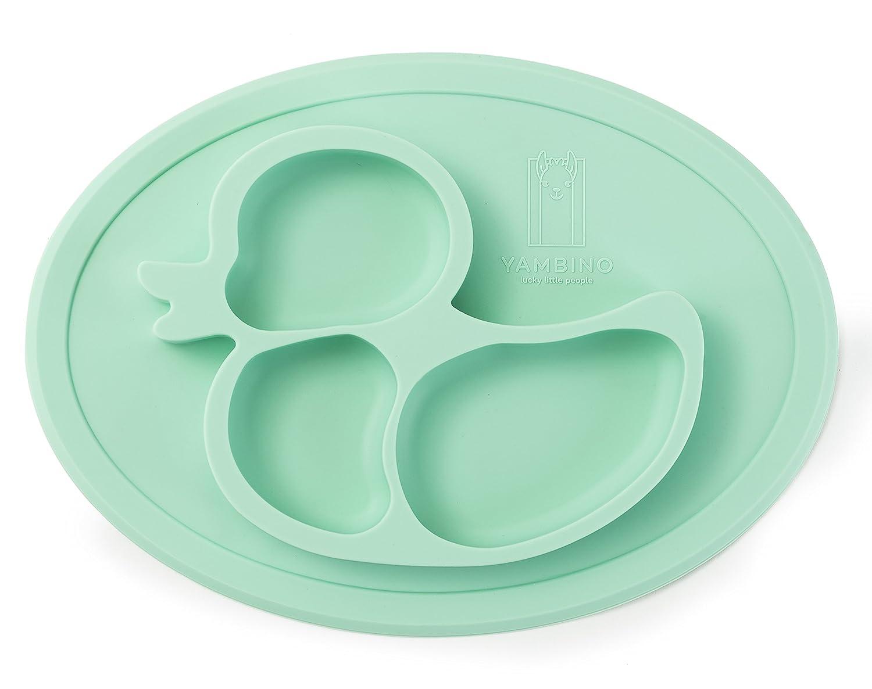 BPA-freier und rutschfester Kinderteller 27x20x3cm – Sicher und geprüfter Esslernteller – Designed in Germany – Perfekt für Baby Led Weaning – Passt in Spülmaschine und Mikrowelle YAMBINO (Rosa)