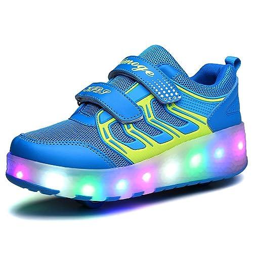 Unisex Niños LED Roller Zapatos Skate Ajustable Rueda Automática Parpadea Zapatillas Skateboard Gimnasia Deportes Zapatos para Niño y Niña: Amazon.es: ...