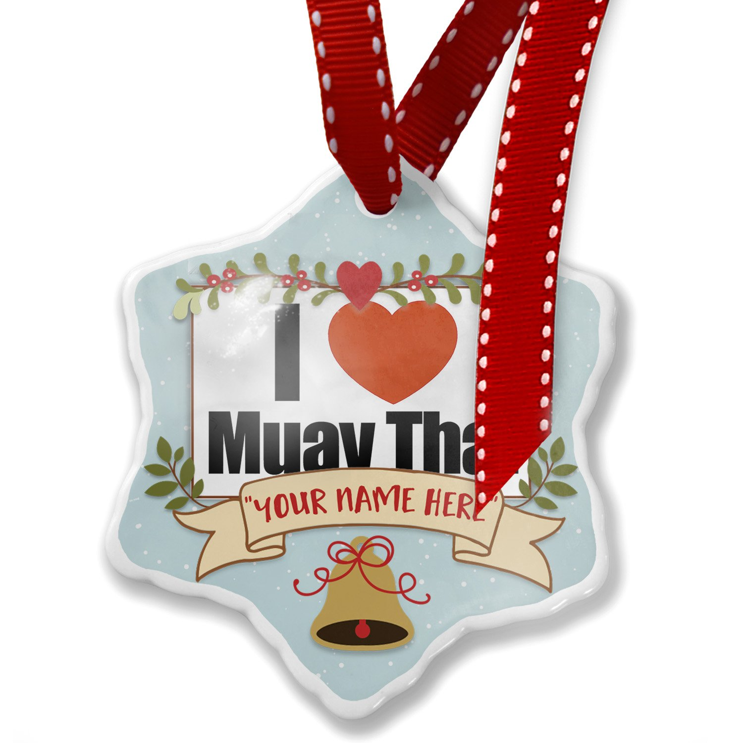 Add Your Own Custom Name, I Love Muay Thai Christmas Ornament NEONBLOND