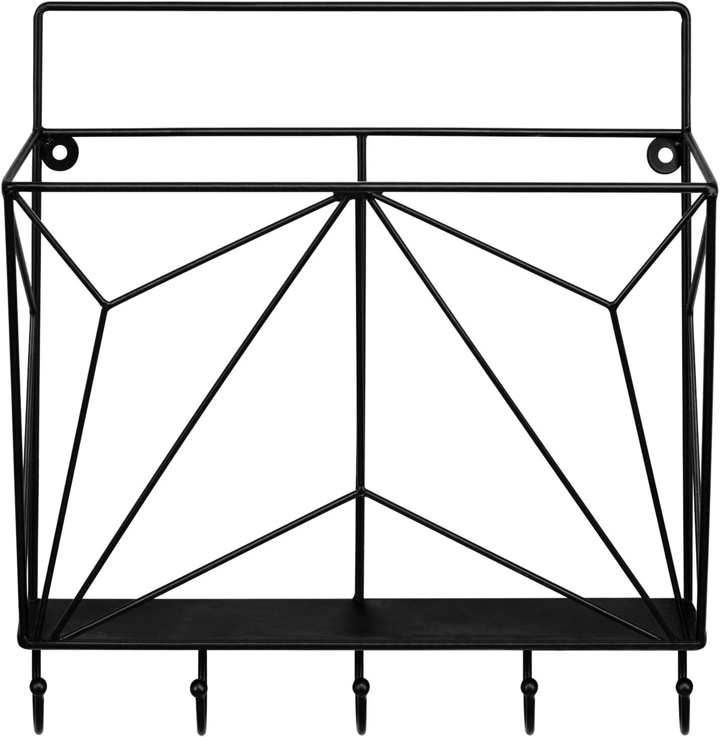 MyGift Modern Geometric Black Metal Wire Wall Mounted Magazine//File Rack with 5 Key Hooks