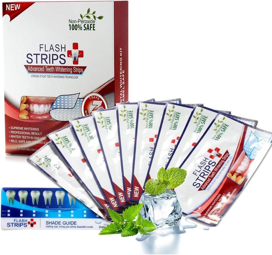 Tiras de blanqueamiento dental, kit de blanqueador de dientes profesional, tiras naturales de blanqueamiento dental, con sabor a menta (Blanco)