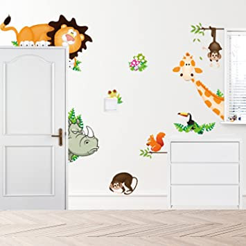 Charming Amazon.com: Removable Creative 3D Lovely Blooms Zoo Wall Decals Kids Room  Wall Decorations Art Decor Stickers Nursery Decor 3D Art Decal Bedroom  Bathroom ...