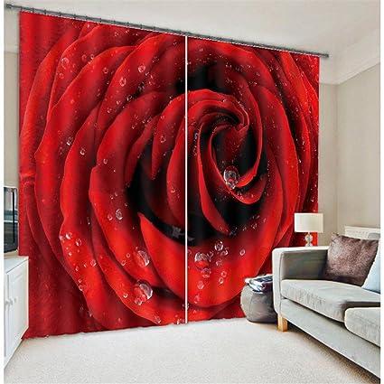 Amazon Com Newrara Romantic Dewy Blooming Red Rose Blackout 3d