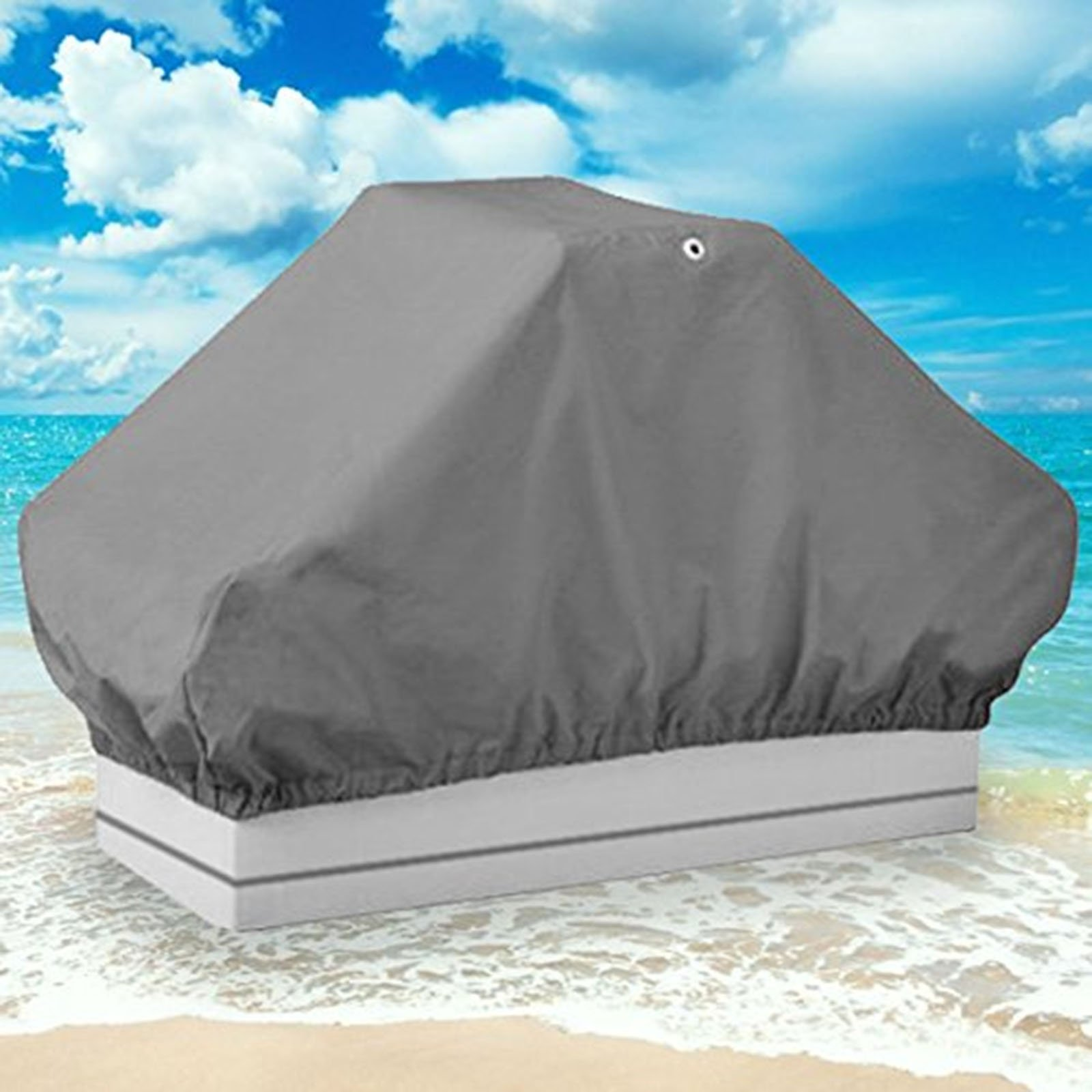 North East Harbor NEH Boat Seat Cover Back to Back Double Seat Storage Cover - 50'' L x 22'' W x 22'' H - Gray Heavy Duty Water, Mildew, and UV Resistant Thick Polyester Fabric