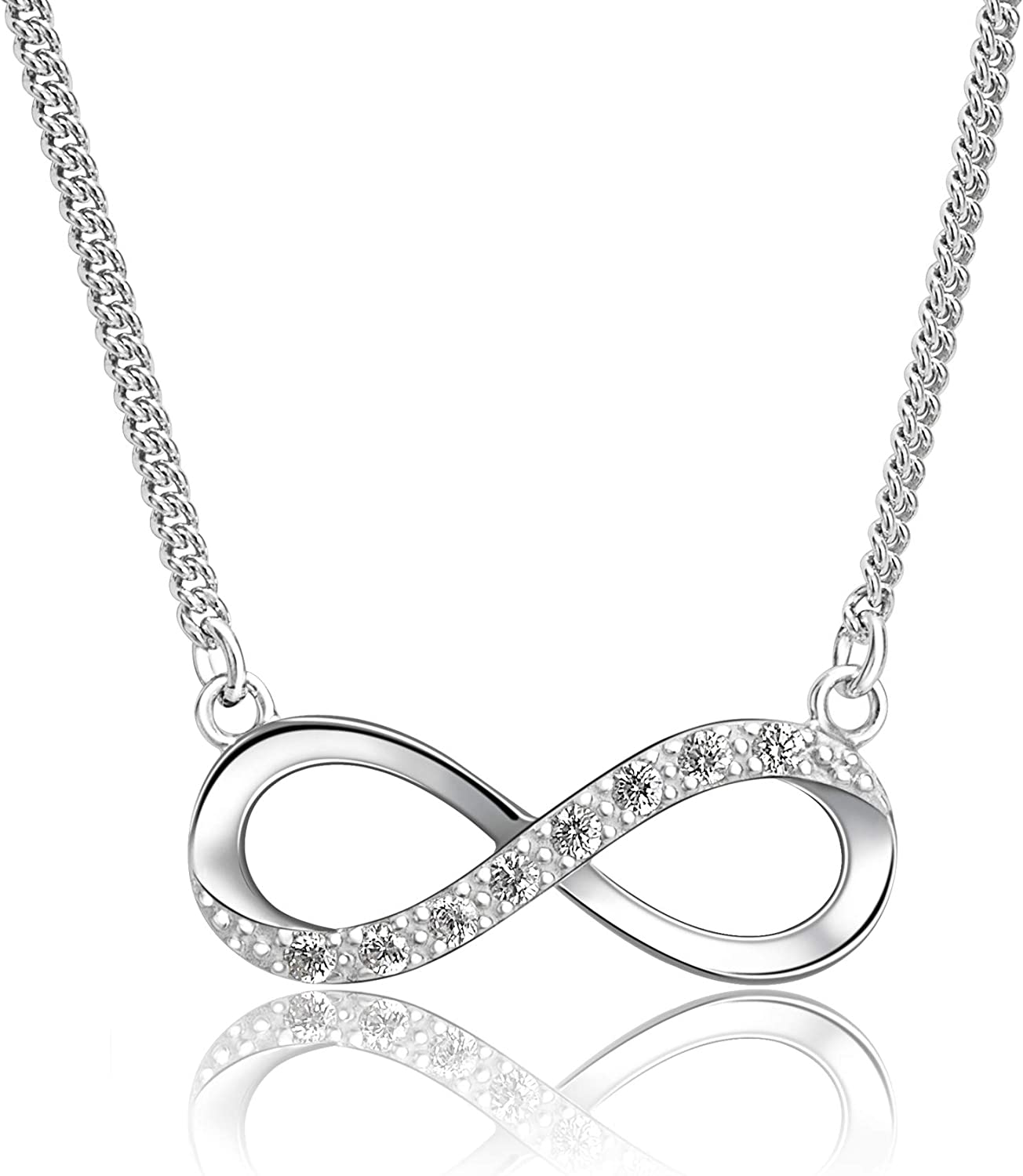 """16/"""" Chain STERLING SILVER Infinity Pendant NECKLACE Stamped 925"""