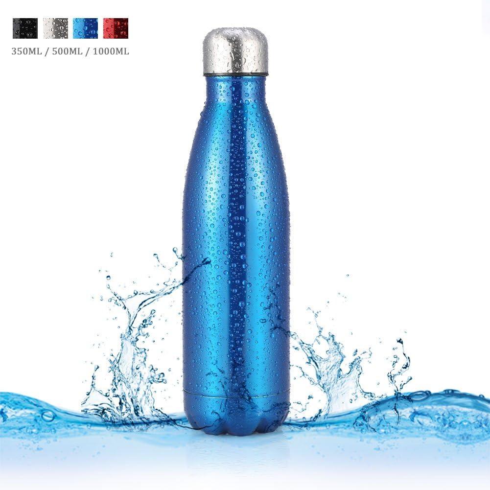 Botella de Agua de Acero Inoxidable Portátil Botella Aislada al Vacío Botella Térmica para Deportes Al Aire Libre Camping Senderismo Picnic Ciclismo
