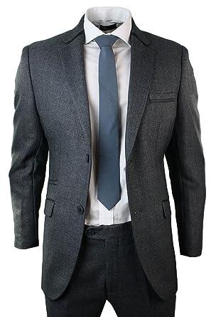 Señor Traje Azul Gris Trimm 2 piezas Pantalones Chaqueta Tweed ...