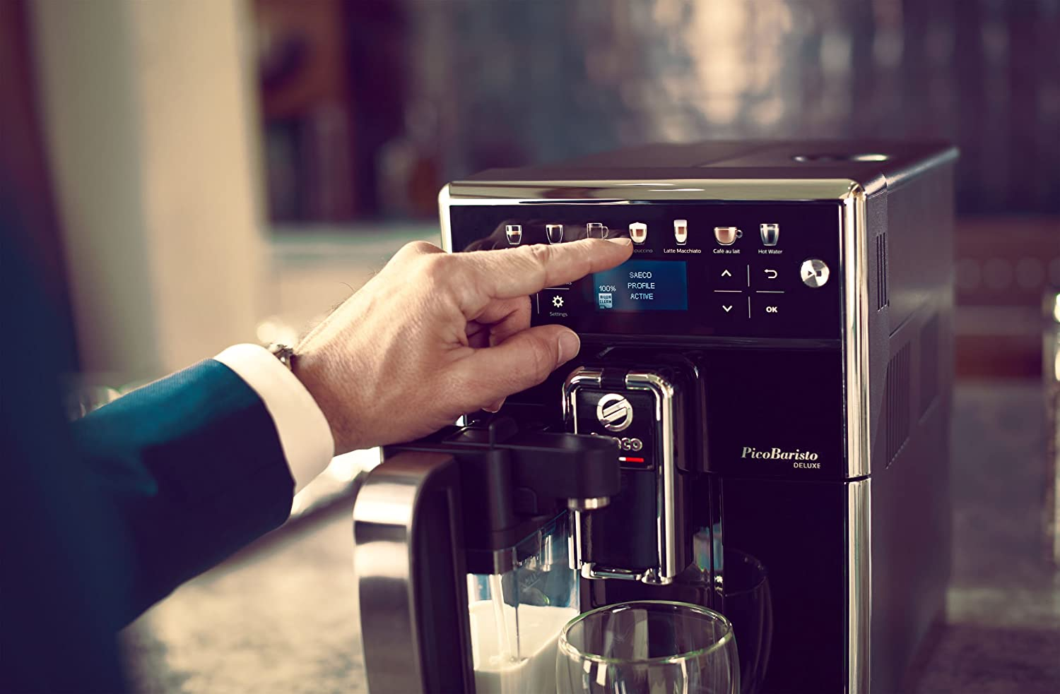 Saeco Picobaristo Deluxe Fully Automatic Coffee Machine Led Display Integrated Milk System Amazon Co Uk Kitchen Home