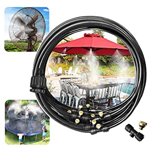 "GLANT Outdoor Misting Misters Cooling System 33FT Misting Line + 10 Brass Mist Nozzles + a PVC Connector(3/4"")+a PVC Socket(1/2"") for Patio Fan Garden Greenhouse Misting, Trampoline for Waterpark"