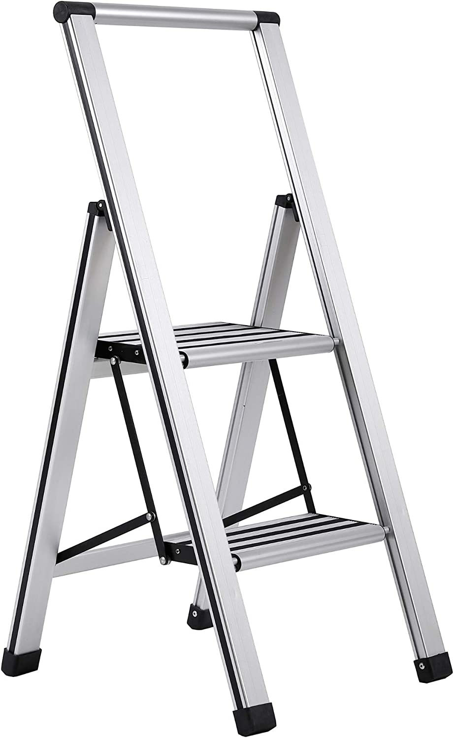 BirdRock Home 2-Step Slim Aluminum Step Ladder - Sturdy Thin Folding Stool - 2 Anti-Slip Steps - Wide Platform - Great for Your Kitchen, Pantry, Closets, or Home Office - Indoor Stool - Silver